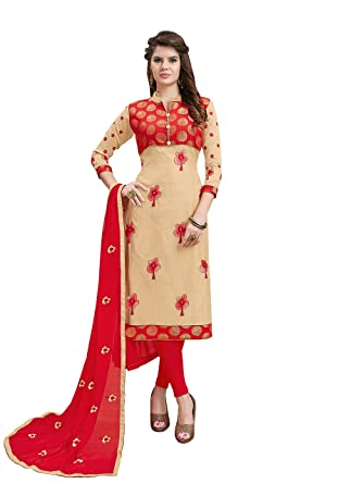 bfffcf7043c6 Kimisha Women's Cream & Red Modal Cotton Embroidered Unstitched Salwar Suit  With Embroidered Dupatta: Amazon.in: Clothing & Accessories