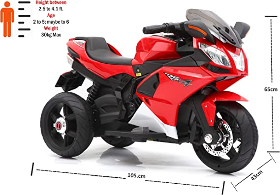 Toy House 3-Wheel RSV4 Bike with Rechargeable Battery Operated Ride-on for Kids for 2 to 6 Years (Red)