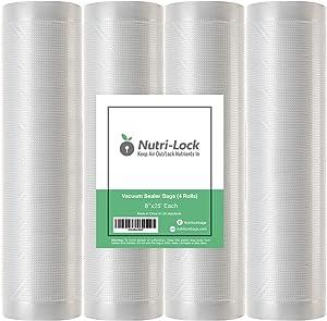 "Nutri-Lock Vacuum Sealer Bags. 4 Rolls 8""x25' Commercial Grade Bag Rolls. Works with FoodSaver and Sous Vide. Fits Inside Sealer Machine."