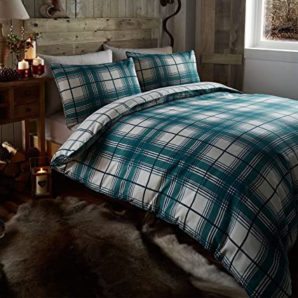 King Size Bed Dundee Fern Duvet Quilt Cover Bed Set Tartan Check Squares Reversible Bedding Set Teal Green Blue Off White By De Cama Amazon Co Uk Kitchen Home