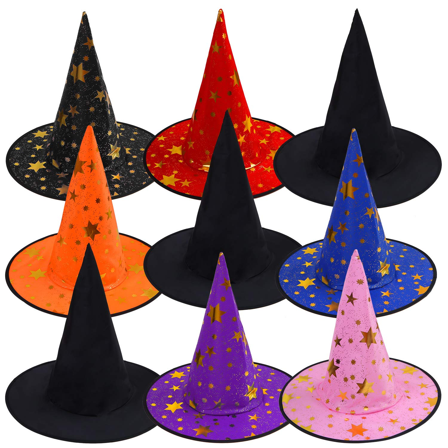 Aneco 9 Pieces Novelty Halloween Witch Hat Halloween Witch Costume Accessory for Halloween Cosplay Favors or Party Yard Decoration by Aneco
