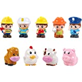 Play 2 Grow People Figures and Farm Animals Playset, Set of 9 Dollhouse Figure Set - Cow, Chicken, Horse, Pig, 5 First Respon