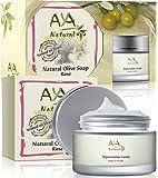 Rejuvenation Cream & Natural Soap Kit - Premium Vegan Deep Firming Smoothing Creme 1.7 oz + Rose Face Cleanser 3.4 oz - Shea, Jojoba, Olive, Almond & Avocado Oils Blend Care Set
