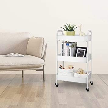 F&R 3-Tier Rolling Cart for Storage, Multifunctional Utility Cart with Mesh Baskets and 360°Lockable Wheels, Metal Craft Trolley Organizer for Bedroom, Bathroom, Kitchen, Office, White