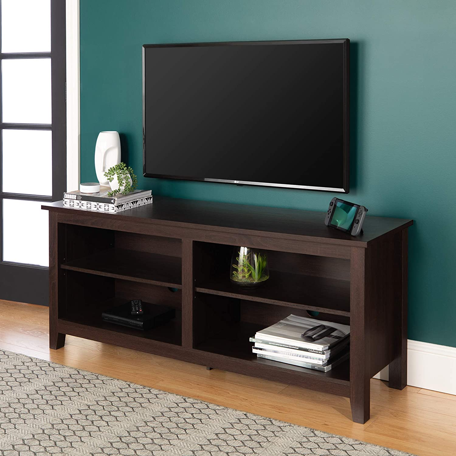 Amazon Com Walker Edison Wren Classic 4 Cubby Tv Stand For Tvs Up To 65 Inches 58 Inch Espresso Furniture Decor