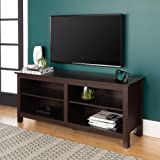 "WE Furniture Minimal Farmhouse Wood Universal Stand for TV's up to 64"" Flat Screen Living Room Storage Shelves…"