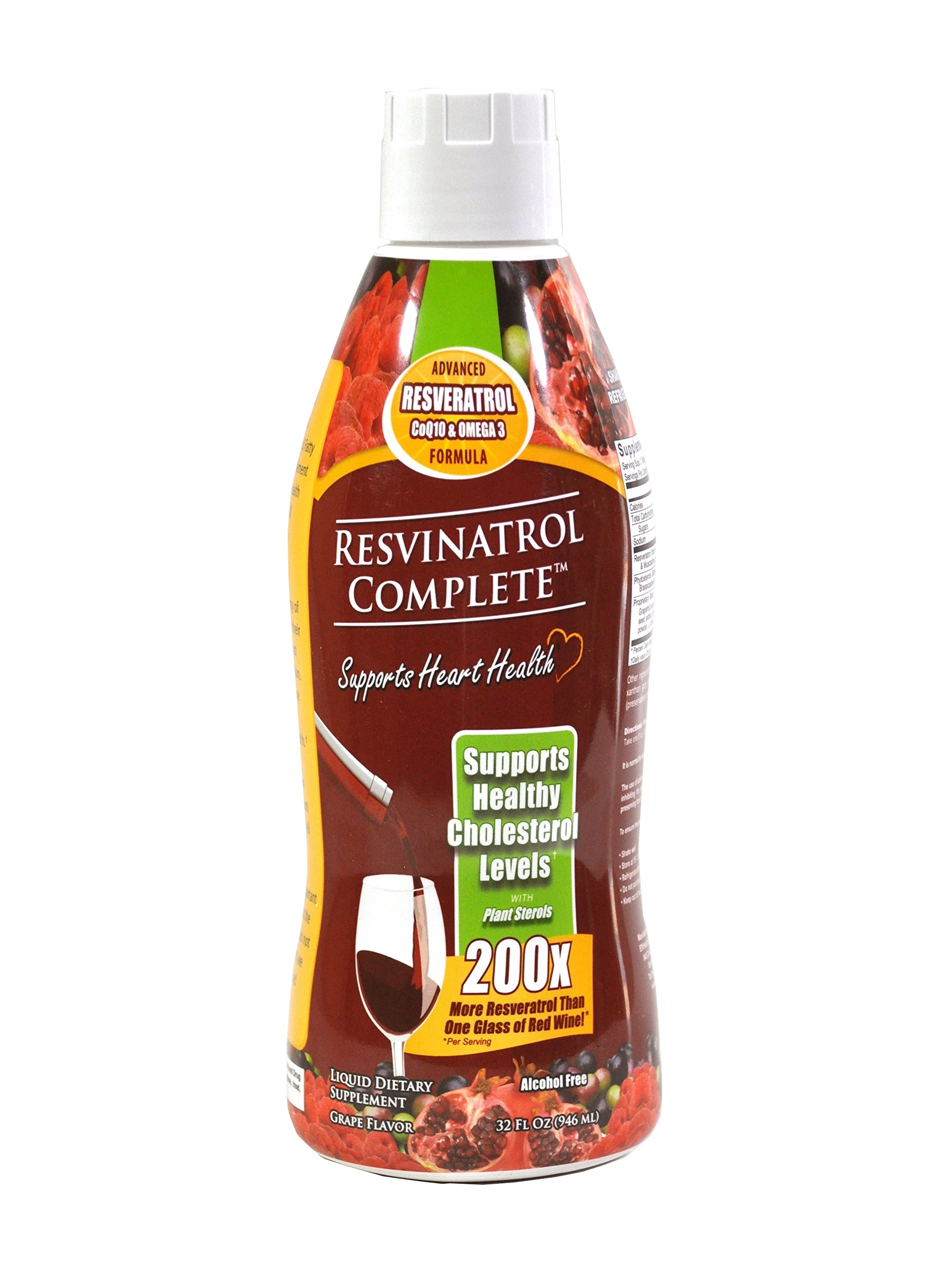 Resvinatrol Complete- 32 oz. Liquid Resveratrol Supplement- Promotes Healthy Aging, Heart Health & Energy Levels- Contains Grape Seed Extract, CoQ10, and Quercetin by EffiHealth