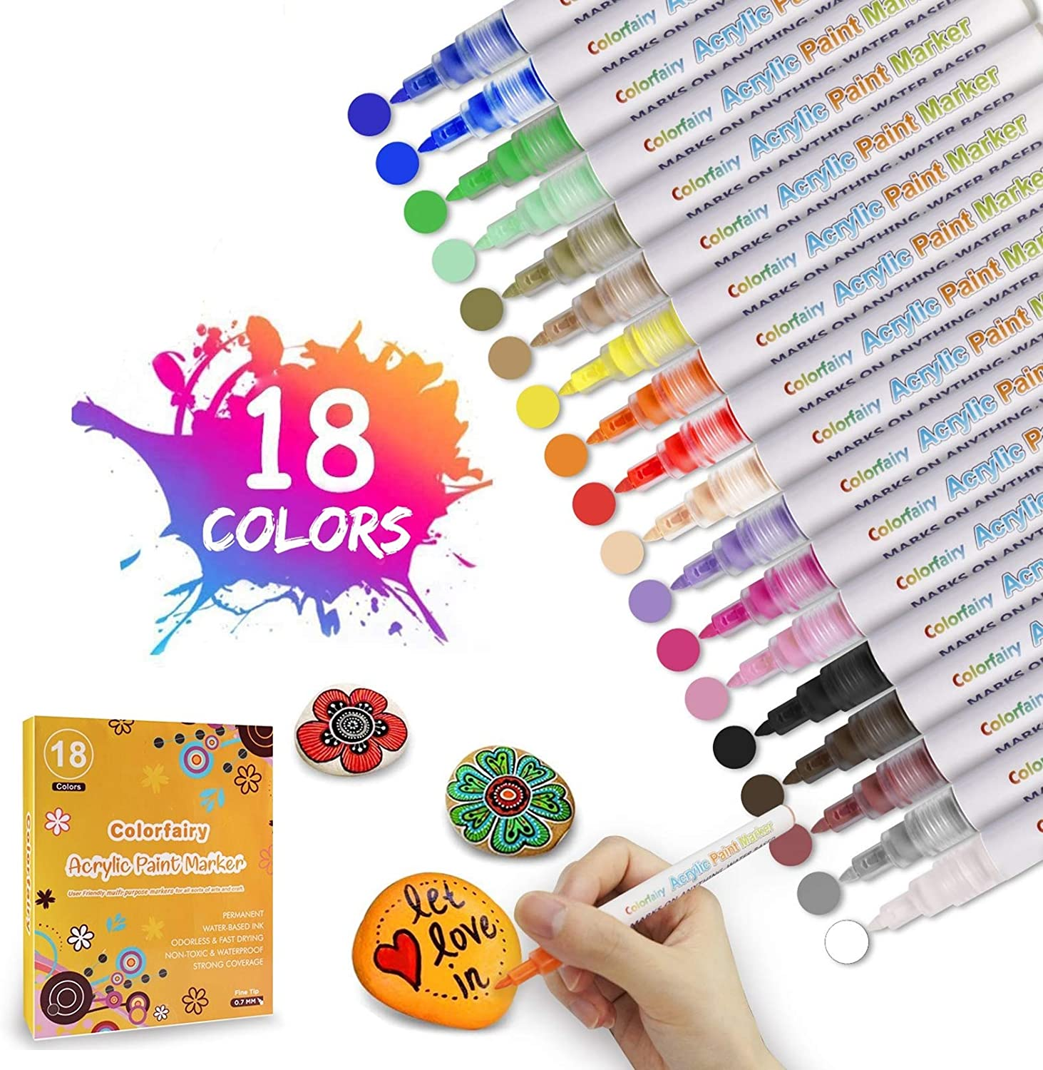 Acrylic Paint Pens 18 Colors Permanent Paint Markers Waterbased Pen Set for Arts