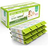 Baby Green Biodegradable Baby Wipes Unscented – Value Pack (12 Packs of 72) 864 –compostable 99% Pure Water Plastic FREE…