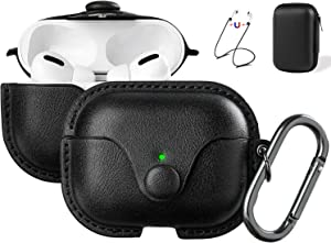 Maxjoy Compatible Airpods Pro Case Cover, Airpods 3 Leather Case Protective Cover with Keychain Airpods Strap Compatible with Apple Airpods Pro Charging Case 3rd Gen 2019 (Front LED Visible), Black