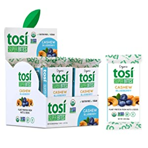 Tosi Organic SuperBites Vegan Snacks, 2.4oz 12 Pack, Gluten Free, Omega 3s, Plant Protein Bars with Nuts, Flax and Chia Seeds (Cashew Blueberry)