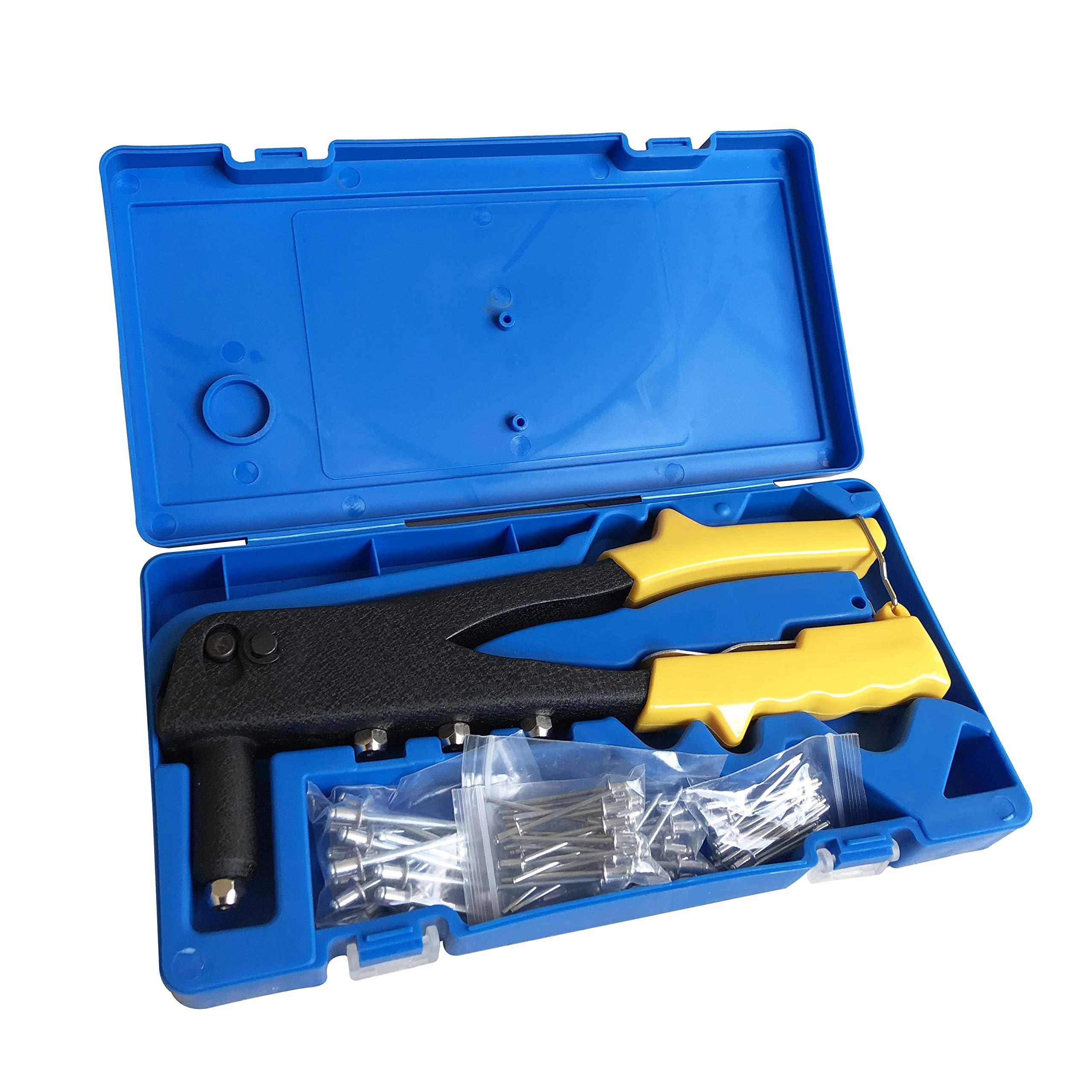 Pop Rivet Gun, Rivet Gun Kit, Riveter, Hand Repair Fastening Tools, Heavy Duty Hand Riveter, Heavy Duty Riveter for Sheet Metal Wooden Plastic Automotive and Duct Work, with 80 PCS Rivets