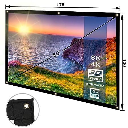 Pantalla de Proyector Plegable y Portátil - Lienzo Blanco, PVC, 80 Pulgadas - Compatible con proyectores de cine en casa, salas de conferencias, ...