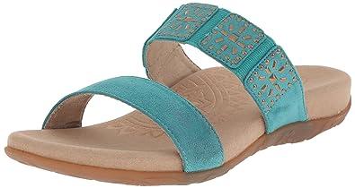 Aetrex Women's Macy Studded Slide Dress Sandal, Teal, 38 EU/7.5-8