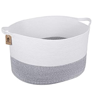 INDRESSME XXX Large Rope Basket Woven Storage Basket Pillow, Blanket Basket Gray Laundry Basket, 0blong Design