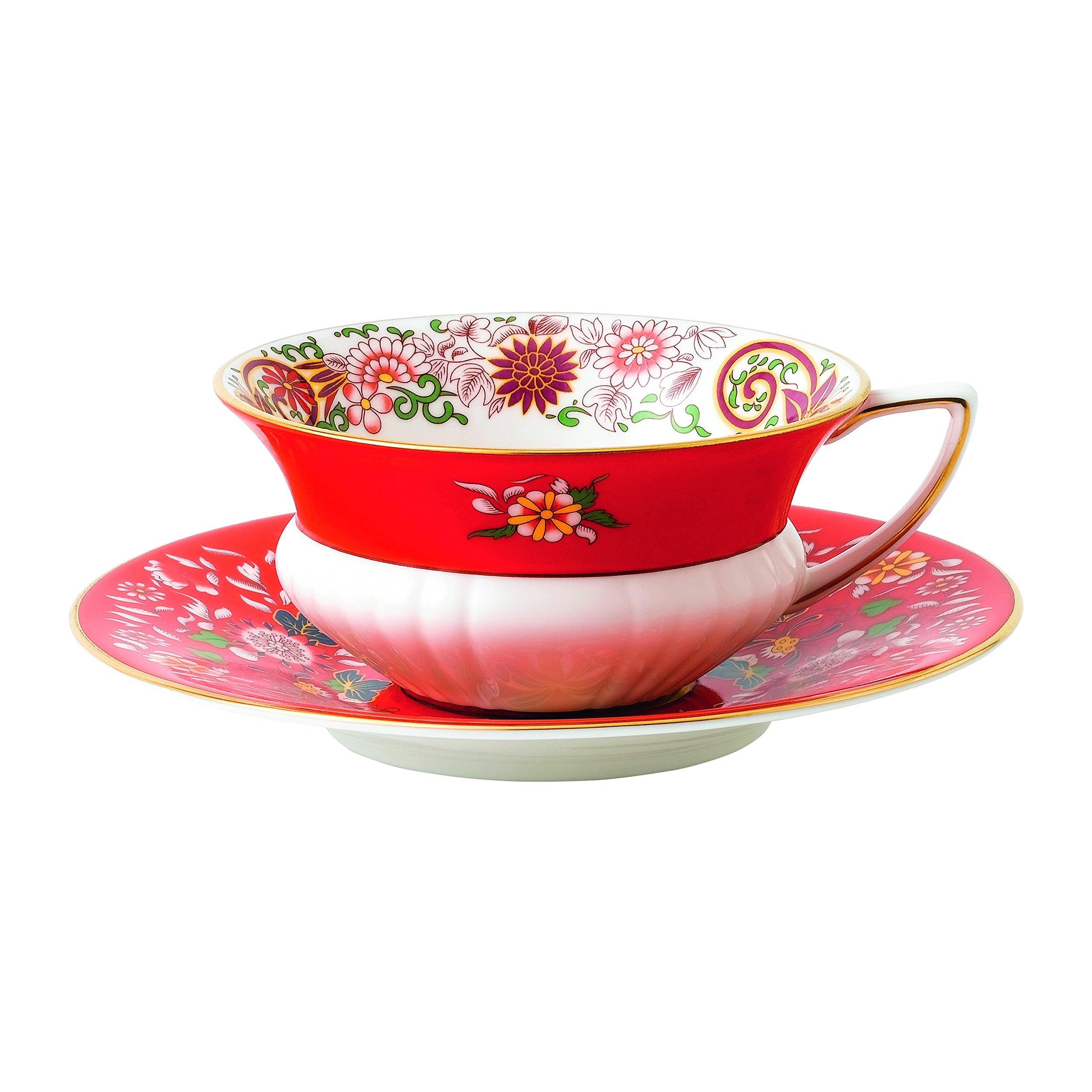 Wedgwood 40024021 Wonderlust Teacup & Saucer Set Crimson Orient, 2 Piece Jewel