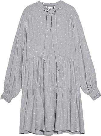 Zara 8396/639 - Vestido Corto de Plumetis para Mujer Gris L ...
