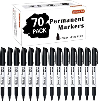 8x Black Permanent Markers Pack Set Pens Fine Point Tip