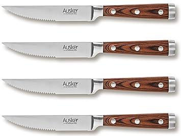 Ausker – Juego de 4 Cuchillos de Carne