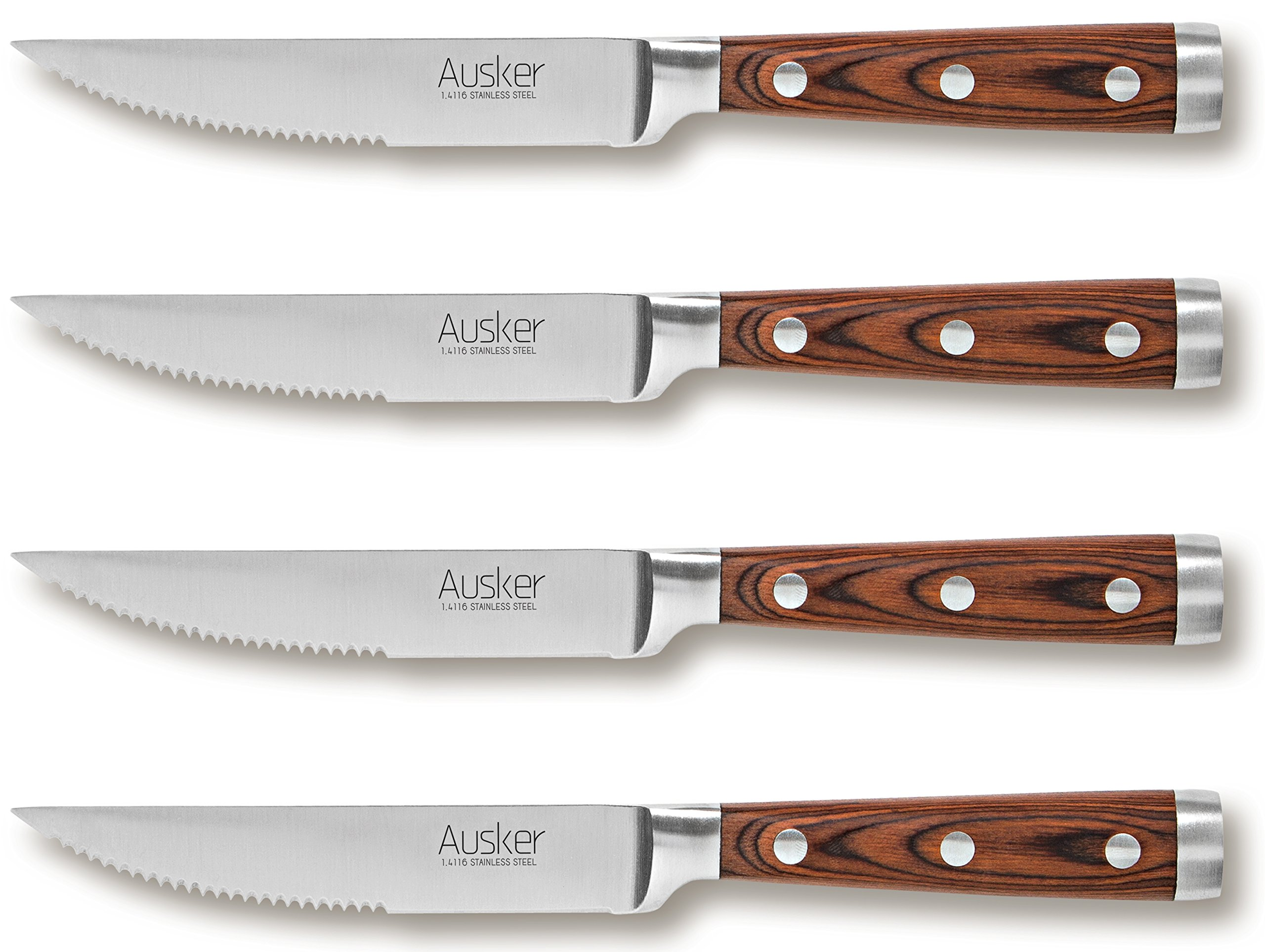 Ausker Steak Knife Set, Stainless Steel with Highly Resistant and Durable Pakkawood Handle, for Pizza or Steak (Pack of 4) by Ausker