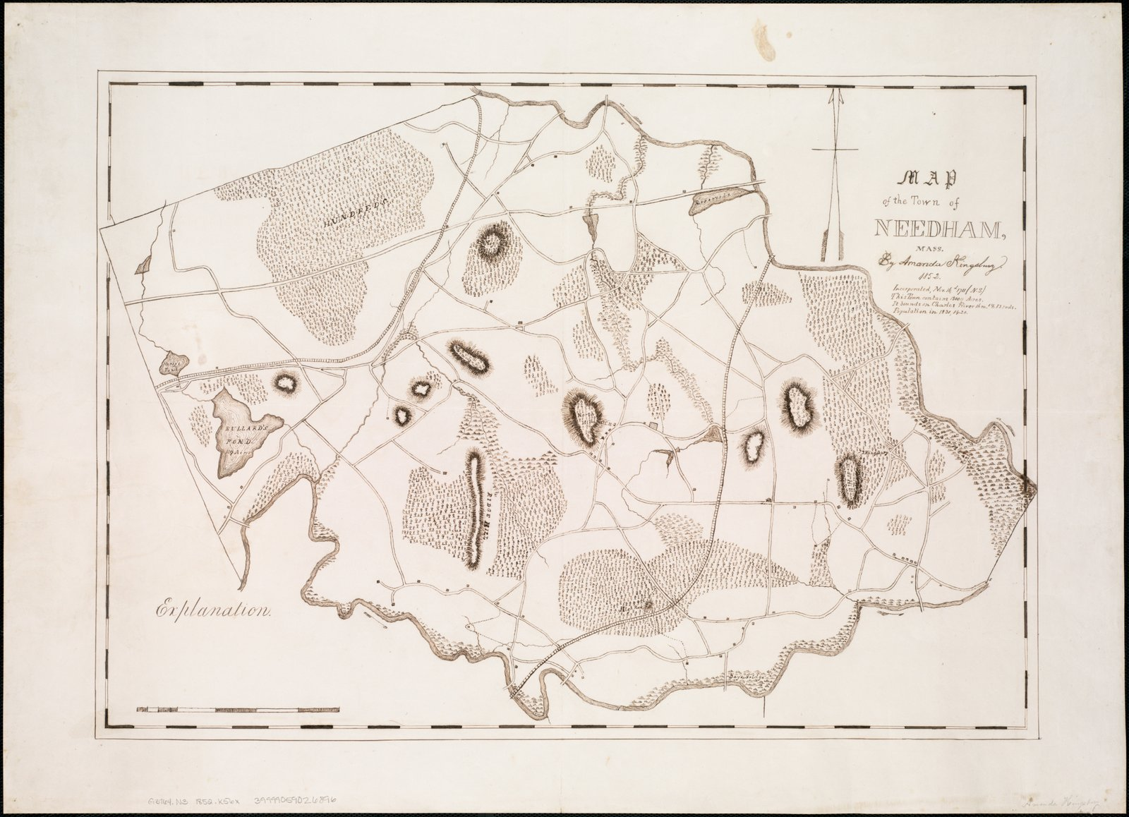 Historic Map | 1852 Map of the town of Needham, Mass | Antique Vintage Reproduction