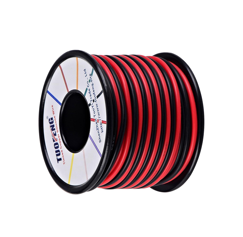 Souple et Flexible 252 m/èches 0,08 mm de Fil de cuivre /étam/é Haute r/ésistance /à la temp/érature 3 m Noir et Rouge 3 m TUOFENG Fil /électrique 16 AWG Calibre 16 Branchez Fil Silicone c/âble