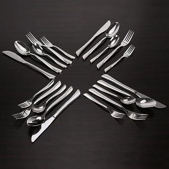INTEY Cubertería Set de 20 piezas, Ideal para Toda la familia, Estilo de diseño italiano, Material de acero inoxidable 18/10: Amazon.es: Hogar