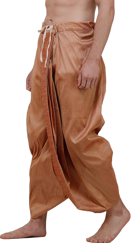 Maenner-Dhoti-Dupion-Silk-Plain-handgefertigt-fuer-Pooja-Casual-Hochzeit-Wear Indexbild 67