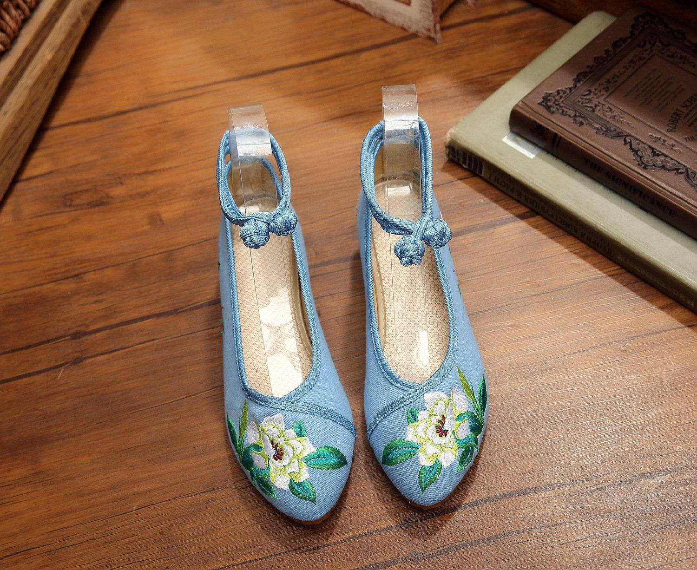 &hua Zapatos bordados finos, lino, lenguado del tendón, estilo étnico, zapatos femeninos, manera, cómodo, zapatos de lona aumentados , black purple , 40