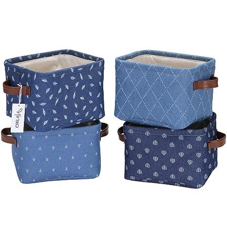 Hinwo Mini Cesta de almacenamiento para guardería juego de 4 Cesta tamaño pequeño de tela vaquera Caja para organizar el cuarto de los niños