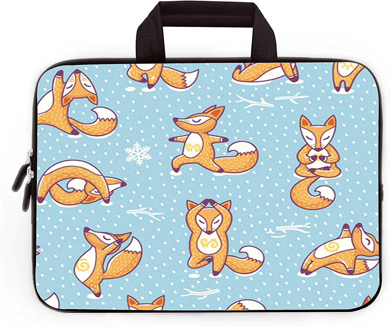 """11"""" 11.6"""" 12"""" 12.1"""" 12.5"""" inch Laptop Carrying Bag Chromebook Case Notebook Ultrabook Bag Tablet Cover Neoprene Sleeve Fit Apple Macbook Air Samsung Google Acer HP DELL Lenovo Asus (Cute Foxs)"""