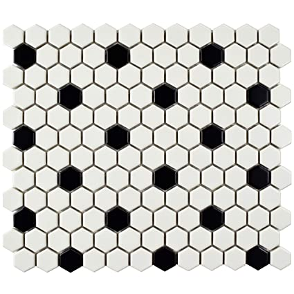 Somertile Fdxmhmwd Retro Hex Porcelain Floor And Wall Tile 10 25 X 11 75 Matte White With Black Dot Ceramic Tiles Com
