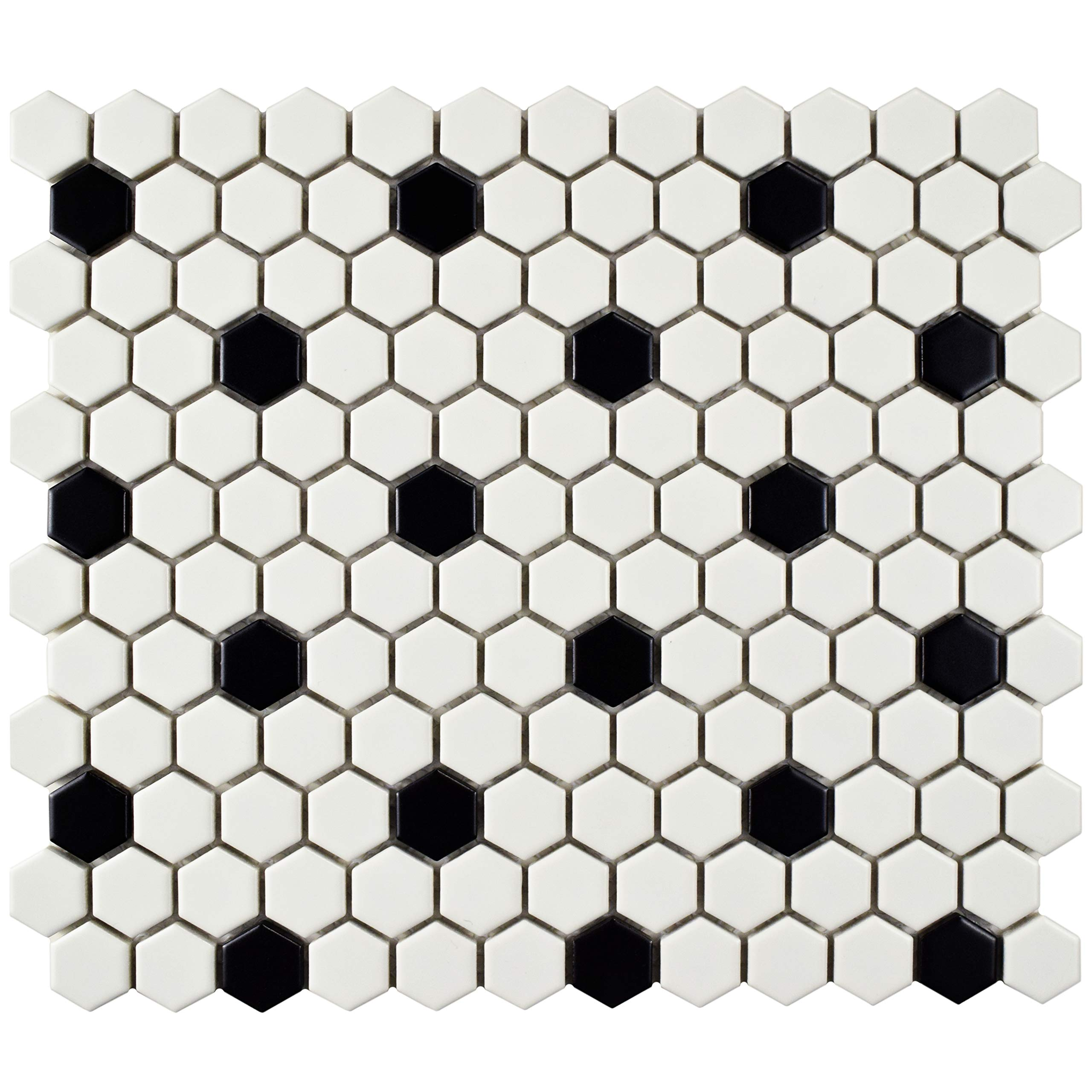 SomerTile FDXMHMWD Retro Hex Porcelain Floor and Wall Tile, 10.25'' x 11.75'', Matte White with Black Dot
