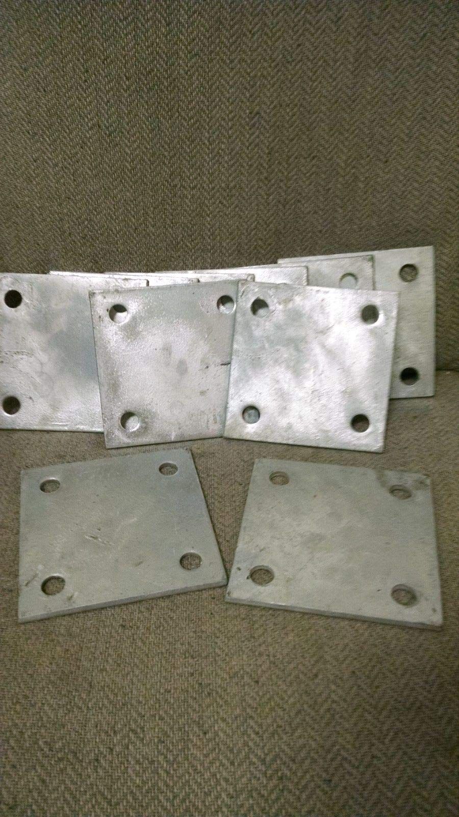 (Set of 6) 3X3 Heavy Galvanized Stanchion Plates for Chain Link Fence Flanges