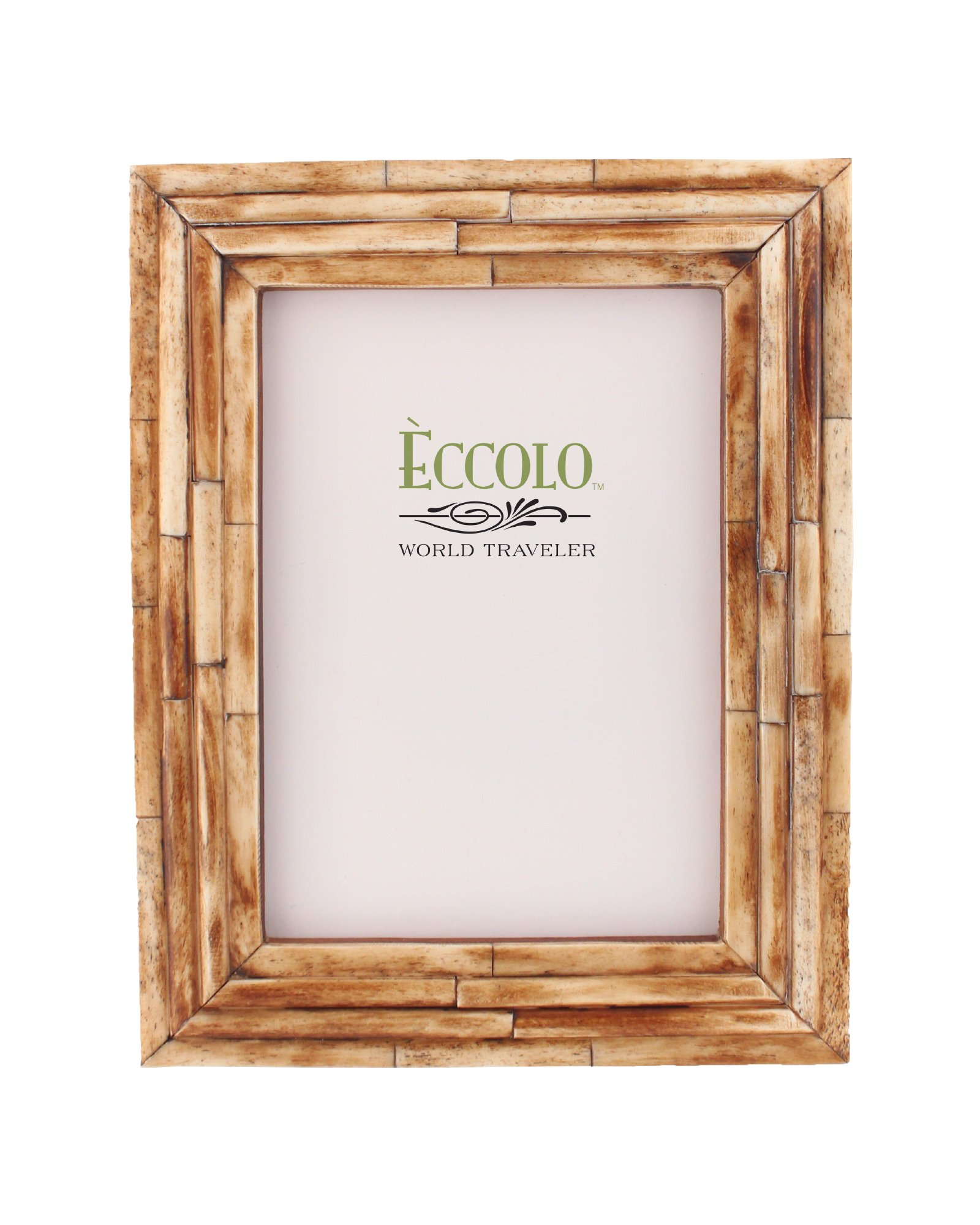 Eccolo World Traveler Naturals Collection Bangalore Raised Interior Frame, Holds 5 by 7-Inch Photo, Brown