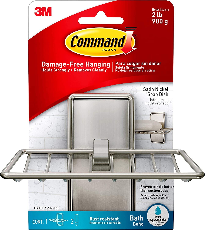 Command Soap Dish, Satin Nickel, 1-Soap Dish (BATH34-SN-ES), Organize Damage-Free: Home Improvement
