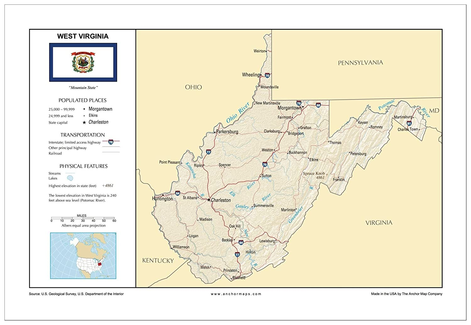 Amazon.com : 13x19 West Virginia General Reference Wall Map ...