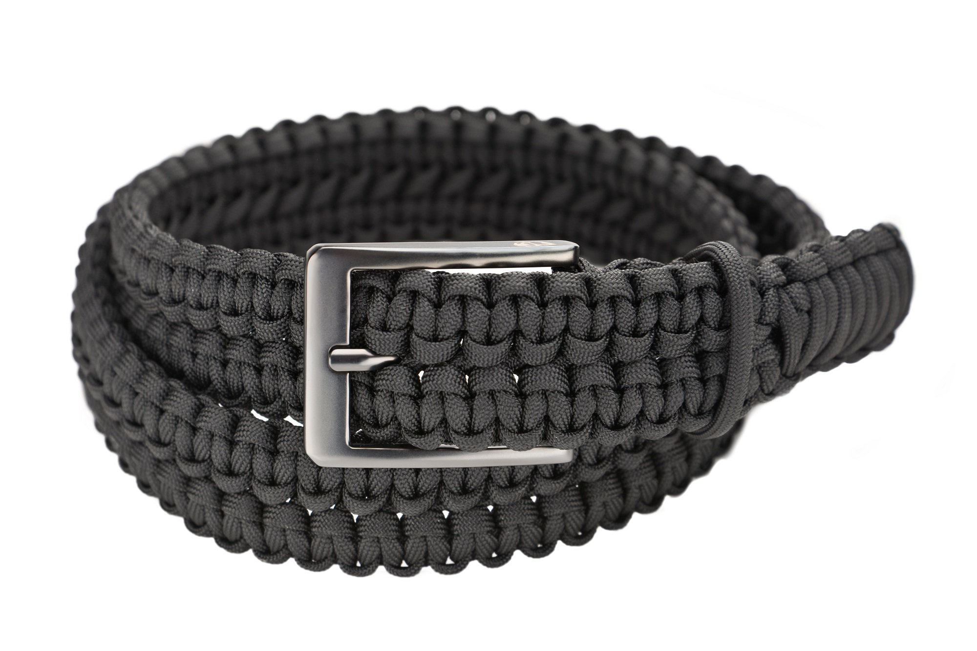 RattlerStrap New Gun Metal Edition Paracord Survival EDC Belt - 100+ Feet of USA Made 550 lb. Handwoven Emergency Nylon Parachute Cord - Black (Small) by RattlerStrap