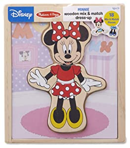 Melissa & Doug Disney Minnie Mouse Mix and Match Dress-Up Wooden Play Set (18 Pieces)