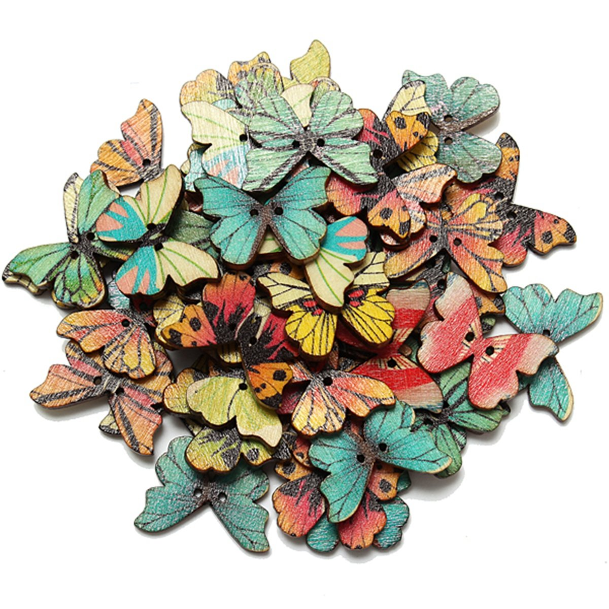 KINGSO 50pcs 2 Holes Mixed Butterfly Wooden Button Sewing Scrapbooking DIY Craft by King So KINGSO Co. LTD