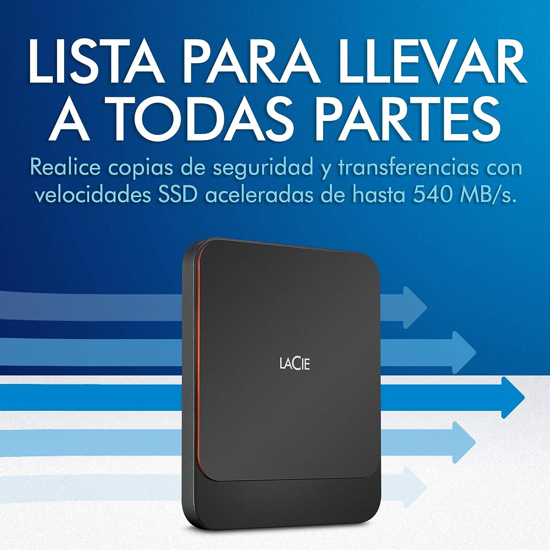LaCie Portable SSD, 1 TB, Unidad Externa, 2.5 Pulgadas, USB-C, USB ...