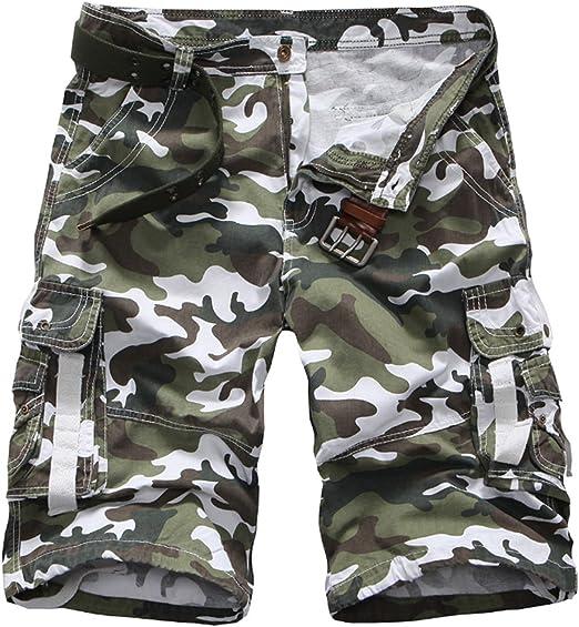 TALLA 34. Elonglin - Pantalón corto para hombre, diseño de camuflaje