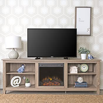 we furniture 70 wood fireplace tv stand console driftwood kitchen dining. Black Bedroom Furniture Sets. Home Design Ideas
