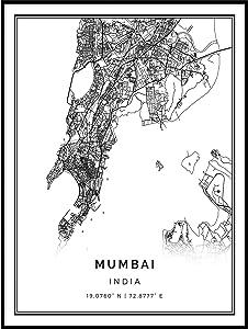 Squareious Mumbai map Poster Print | Modern Black and White Wall Art | Scandinavian Home Decor | India City Prints Artwork | Fine Art Posters 24x36