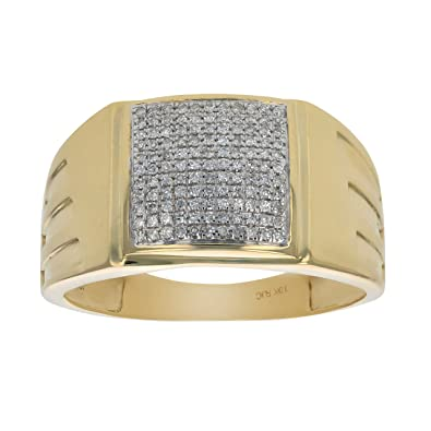 afbe81df72dd6 1/4 CT Men's Diamond Ring in 10K Yellow Gold in Size 10|Amazon.com