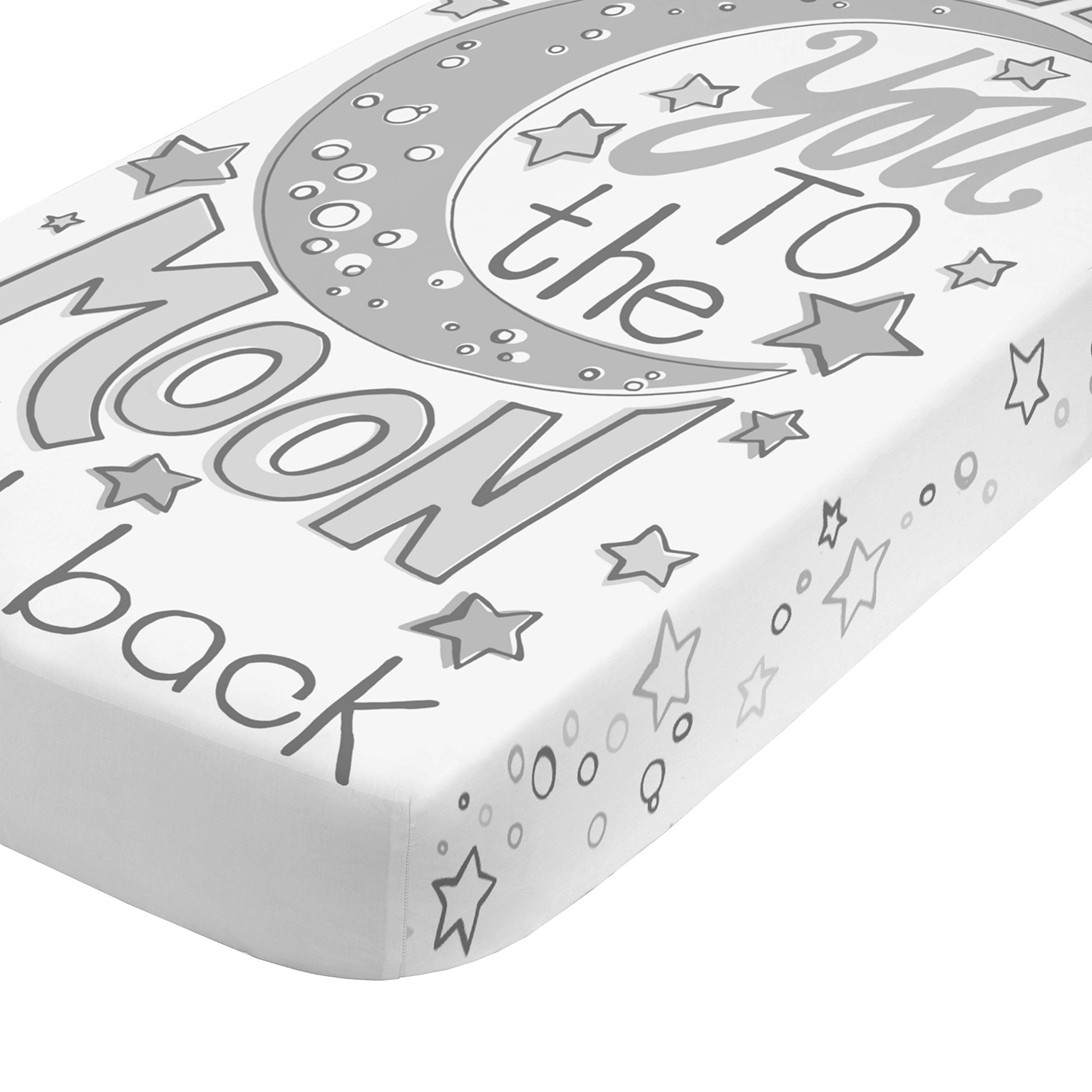 NoJo Photo Op 100% Cotton Fitted Crib Sheet, Love You to the Moon and Back, Gray/White