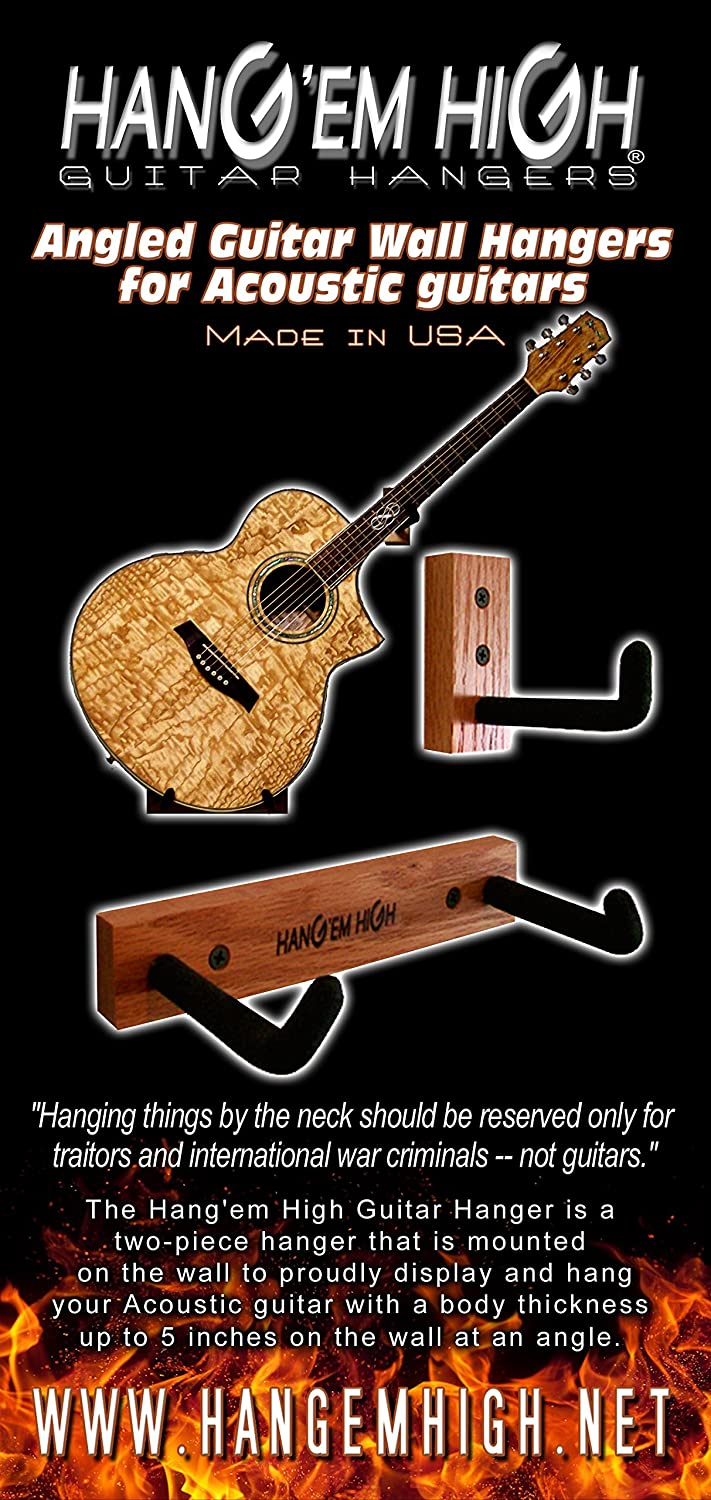 Amazoncom Angled Guitar Wall Hanger Display for Acoustic and Thick