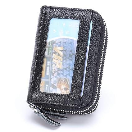 1b2c3facbe89 MuLier Top Genuine Leather Women Cash Purse RFID Blocking Anti-Theft Front  ID Window Double Zipper Around Card Holder (Black)