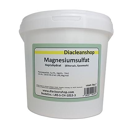 Sulfato de magnesio de 5 kg, epsomita, calidad farmacéutica (puro como calidad alimentaria