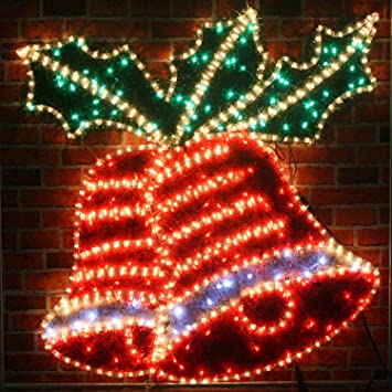 giant pre lit christmas bells holly led rope lights silhouette with tinsel finish
